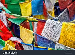 Plastic Flags Tibetan Buddhism Prayer Flags Lungta Om Stock Photo 511221616