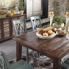 Dining Room Accent Furniture Mestler Dining Table Brown Pine And Server Buffet Ashley