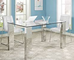 Dining Table Glass Top Dining Table Glass Top U0026 Stainless Steel Legs By Modway