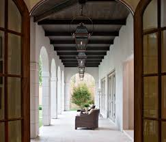 stained beadboard ceiling patio mediterranean with arches
