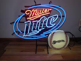 l k miller lite beer milwaukee brewers baseball neon light up