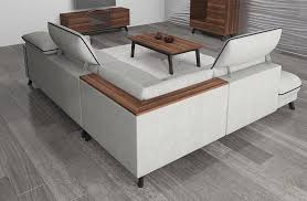 Corner Sofa Wood Stylized Retro Corner Sofa