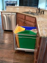 in cabinet trash can system kitchen recycling for the home