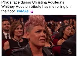 Christina Aguilera Meme - p nk s face during christina aguilera s whitney houston tribute has