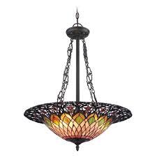 Quoizel Pendant Lighting Quoizel Lighting Quoizel Bronze Hanging Pendant Light With Tiffany