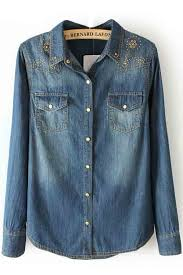 denim blouses pockets copper sheet decor denim shirt womens shirts