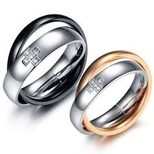 wedding rings his and hers matching sets classic stainless steel couples circles cross wedding bands