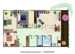 Floor Plans With Furniture Colorful Floor Plan House Stock Vector 245620843 Shutterstock