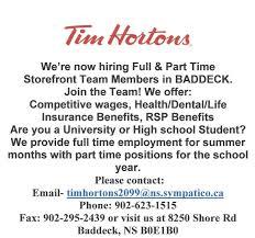 Resume For Tim Hortons Job by Current Job Postings Baddeck Employment U0026 Resource Centre