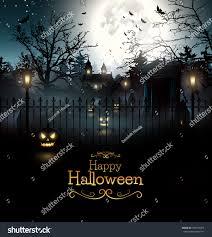 scary graveyard woods halloween background stock vector 304794905