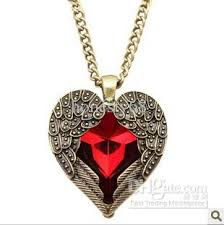 heart necklace red images Wholesale vintage carved wing red heart necklace gemstone necklace jpg