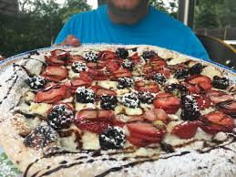 backyard brick oven strawberry dessert pizza