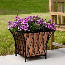 square copper planter with lattice frame outdoor