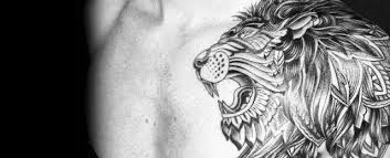 50 lion shoulder tattoo designs for men masculine ink ideas