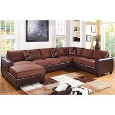 Reversible Sectional Sofas Dannis Reversible Sectional Sofa With Pillows In Chocolate