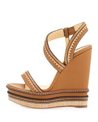 lyst christian louboutin trepi platform wedge leather sandals in