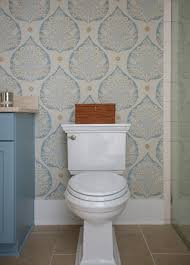 powder room with gold and blue lotus wallpaper transitional