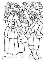 pilgrim settlers celebrating thanksgiving day coloring page