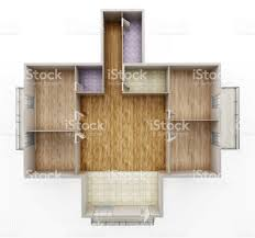 Decor And Floor by Empty House Interior Model Showing Walls Doors And Floor Stock