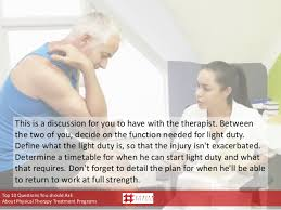 what is light duty work get your injured workers back to work faster with 10 questions to ask