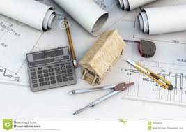 calculator tools designer and wooden house on projects stock