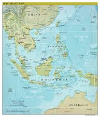Asia Maps by Large Scale Political Map Of Southeast Asia With Relief Capitals