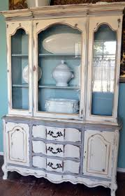 french china cabinet hutch in white gray blue gold distressed made