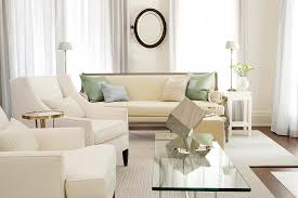 Cream Leather Armchairs Small White Living Room Design With Glass Coffee Table Surrounded