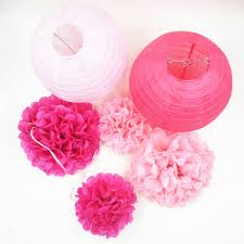 aliexpress com buy 6 pcs set tissue paper lanterns pom poms
