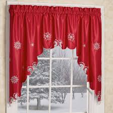 Snowman Valances Metallic Snowflake Red Holiday Window Valances