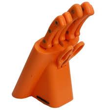 Red Kitchen Knife Block Set by Orange Practical Kitchen Knives Block Set K100601 7 Pcs Tmart