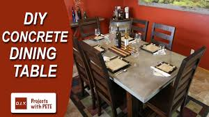 concrete top dining table how to make a concrete dining table youtube