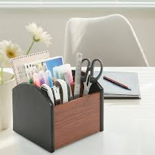 Revolving Desk Organizer by Amazon Com Revolving Wooden 4 Compartment Desktop Office