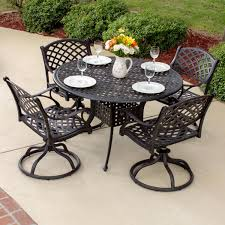 Aluminum Cast Patio Dining Sets Heritage 5 Cast Aluminum Patio Dining Set With Swivel