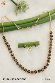 black necklace stone images One gram gold plated black stone necklace set in exact solitaire jpg