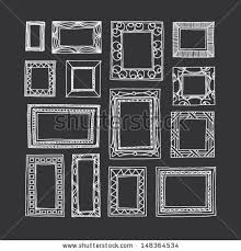 set of hand drawn picture frames rectangular and square shape