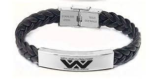 leather stainless steel bracelet images Alien weyland yutani corp leather stainless steel by goku on zibbet jpg