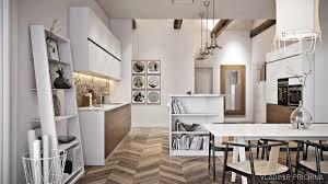 kitchen scandinavian kitchen features oscillating wooden panelling