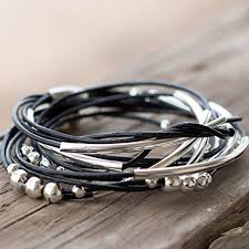 leather bracelet with silver beads images Black size 7 5 wrap leather bracelet with silver tone beads with jpg