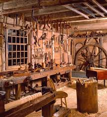 dominy clock shop and woodworking shop with all their tools are