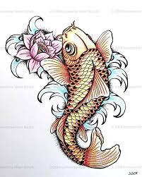colorful japanese koi fish with lotus design koi fish