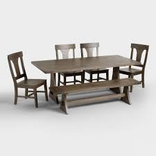 Outdoor Dining Bench Rustic Wood Brinley Fixed Dining Table World Market