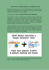 webmaster importance of google analytics and webmaster tool