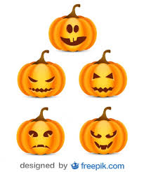 small pumpkins pack about of small scare pumpkins 3 vector free