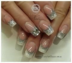 gorgeous wedding bridal nail art design with silver glitter