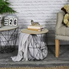 wire and wood basket side table black metal wire basket wooden top side table storage loft living