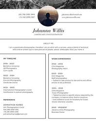 Portrait Photographer Resume Black And White Photo Modern Resume Templates By Canva
