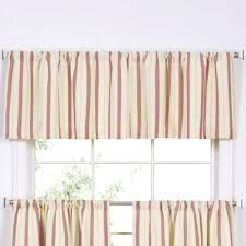 ticking stripe brick tier window treatment