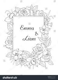 wedding invitation template spring flowers frame stock vector