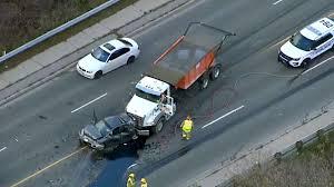 woman critically hurt in multi vehicle crash involving dump truck